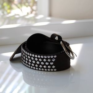 Dark Brown Leather Belt with Silver Studs